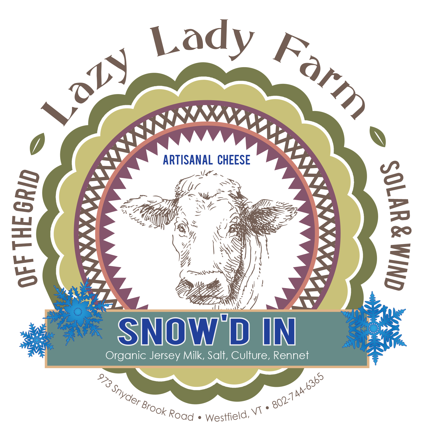 lazy lady farm snow'd in cheese